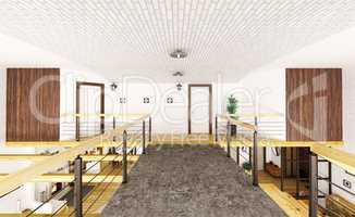 Interior of second floor of loft house 3d render