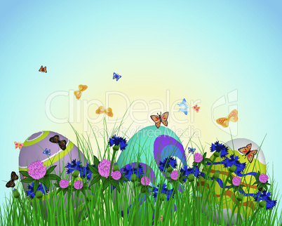 Easter Eggs on Springtime Meadow