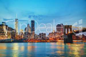 New York City cityscape in the evening