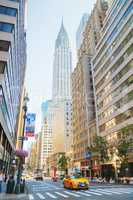 New York street with the Chrysler building