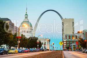 Downtown St Louis, MO with the Old Courthouse and the Gateway Ar