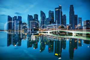 Singapore financial district at the sunset