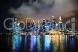 Singapore financial district at the night