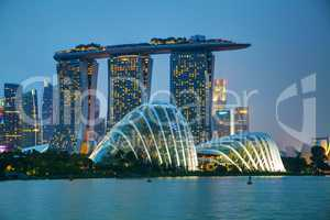 Singapore financial district with Marina Bay Sands