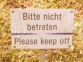 Please keep off from the grass s vintage