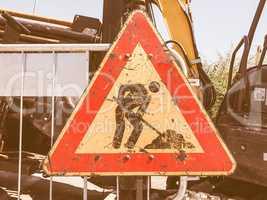 Road works sign vintage