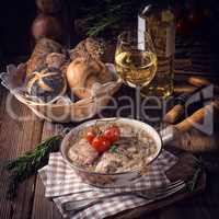 fried Fricandeau with onion