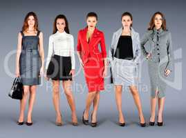 Five girls in different clothes, spring summer collection clothe