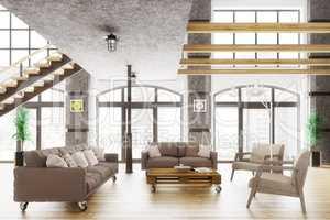 Modern loft apartment interior 3d render