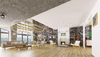 Interior of modern loft apartment 3d render