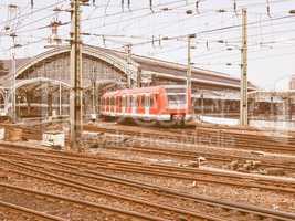 Trains in station vintage