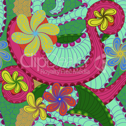 Colourful seamless pattern with floral elements