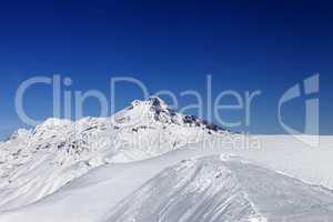 Views of Mount Kazbek at nice sun day