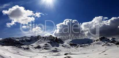 Panoramic view on plateau covered snow
