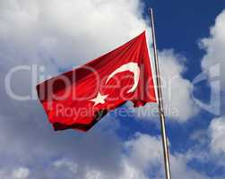 Turkish flag on flagpole