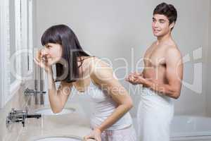 Bathroom routine for young couple