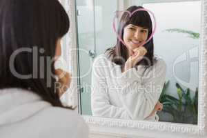 Beautiful young woman reflection in mirror
