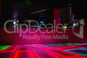 Red illuminated disco dance floor