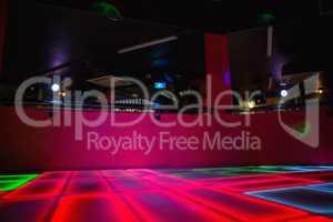Red illuminated disco dance floor