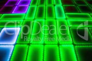 Green illuminated disco dance floor