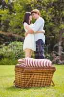 Picnic basket in garden