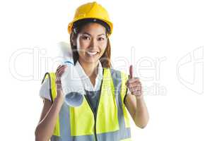 Architect woman with thumbs up