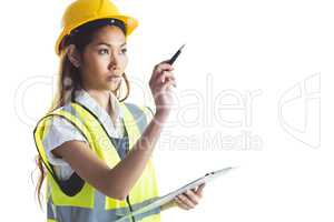 Architect woman with yellow helmet and plans