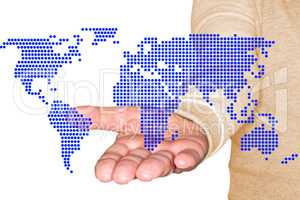 Man holding hand with symbolical world map