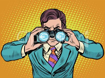 Financial monitoring of currency Euro businessman binoculars
