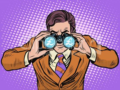 Financial monitoring of currency pound businessman binoculars