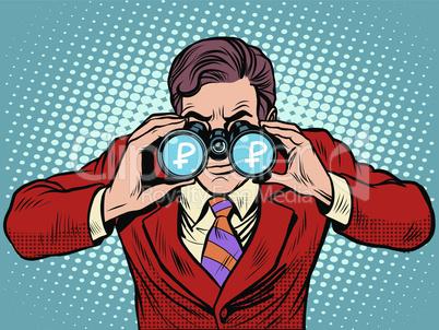 Financial monitoring of currency ruble businessman binoculars