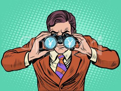 Financial monitoring of currency yen businessman binoculars