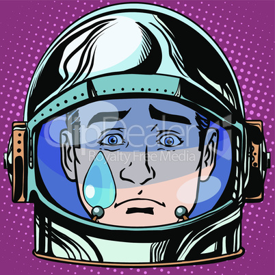 emoticon sadness tears Emoji face man astronaut retro