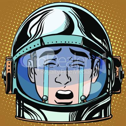 emoticon tears roar Emoji face man astronaut retro