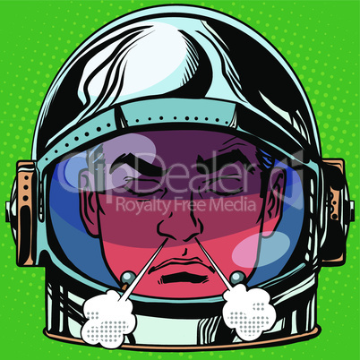emoticon anger rage Emoji face man astronaut retro