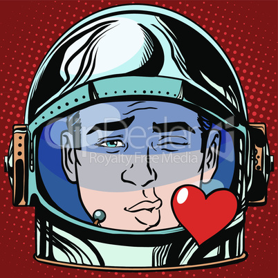 emoticon kiss love Emoji face man astronaut retro