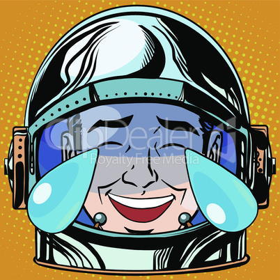 emoticon laughter tears Emoji face man astronaut retro