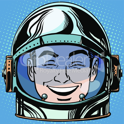 emoticon laughter Emoji face man astronaut retro
