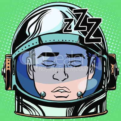 emoticon sleep Emoji face man astronaut retro
