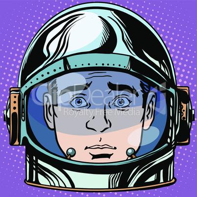 emoticon surprise Emoji face man astronaut retro