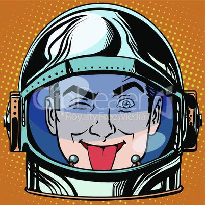 emoticon tongue Emoji face man astronaut retro