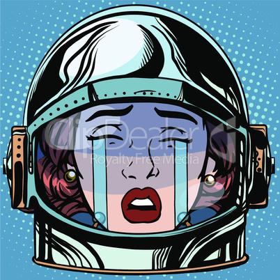 emoticon cry Emoji face woman astronaut retro