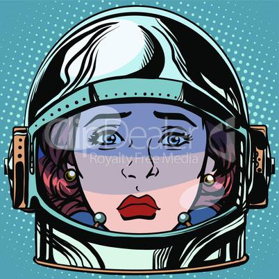emoticon sadness Emoji face woman astronaut retro