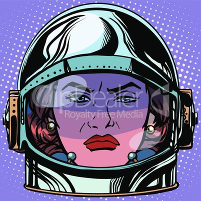 emoticon rage Emoji face woman astronaut retro