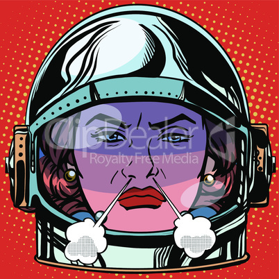 emoticon rage boiling water Emoji face woman astronaut retro