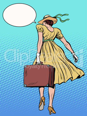 Lady traveler with suitcase
