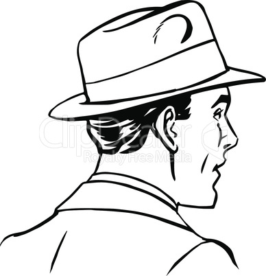 man hat profile line art