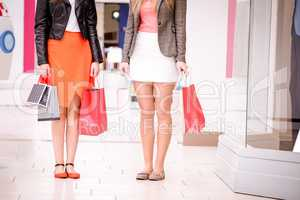Women standing in mall with shopping bags