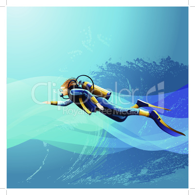 Scuba diver girl on blue sea background