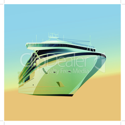 Ocean liner vector illustration on a gradient background